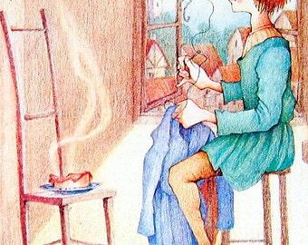 1987 The Valiant Little Tailor Vintage Fairy Tale Book Plate