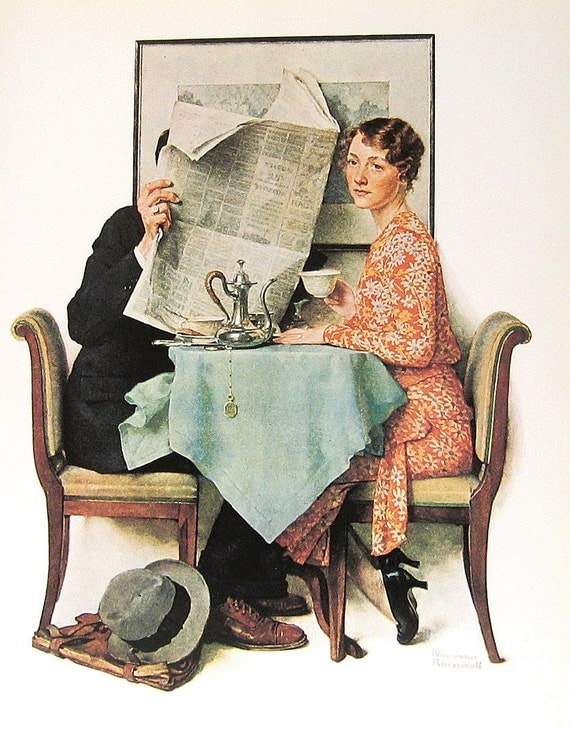 """1977 Large Norman Rockwell Book Plate """"At The Breakfast Table"""""""