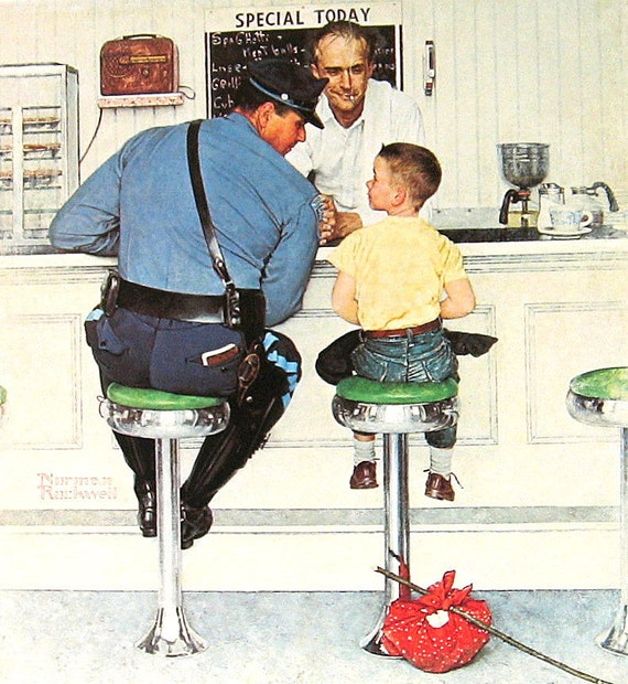 """1977 Large Norman Rockwell Book Plate """"The Runaway"""""""