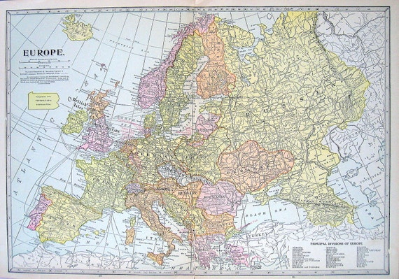 Old Vintage Map, Large 1921 Map of Europe Print -  World Map Book Page - 14 x 10