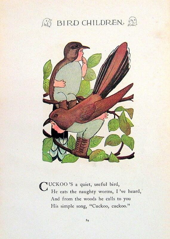 Cuckoo, Snowbird 1912 Antique Bird Children Book Plate 2 Sided