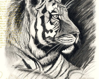 Tiger Birthday Greeting Card Handmade