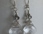 Ice Crystal Earrings - Crystal Glass Briolette Earrings - Sterling and Crystal Earrings - Happy Shack Designs