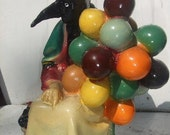 Crow Lady with Balloons - Vintage Ceramic Sculpture - Magic Good Luck