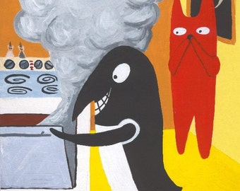 Funny ACEO Art Print - Crow Cooks Cat's Dinner - Bad Cook