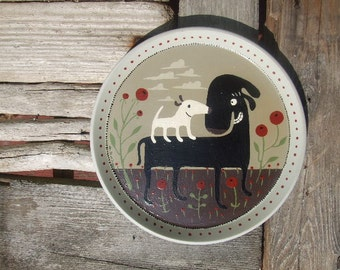 Hand Painted Black Dog, White Dog and Poppy Art Plate - Neutral Earth tones Stoneware Whimsical Animal Folk Art