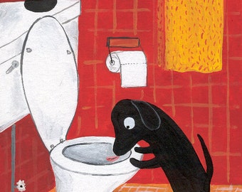 Funny Dog Art Print 5x7 Whimsical Black Lab Drinks Out of Toilet in Red Bathroom