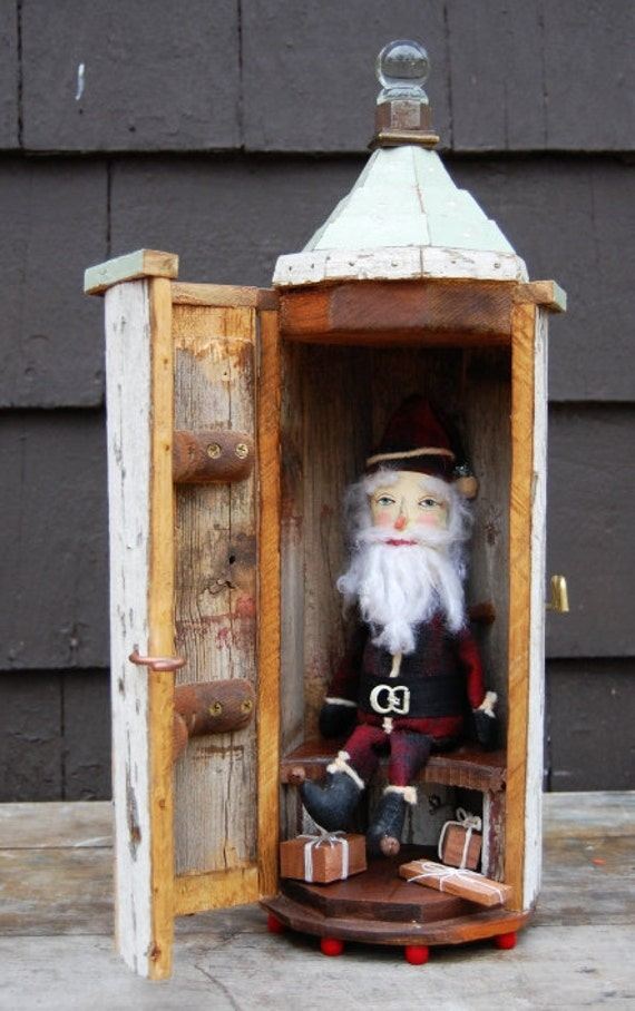 Primitive Folk Art Santa Doll in Hand Built Wooden House -Steampunk Collectible Folk Christmas Holiday Decor Art