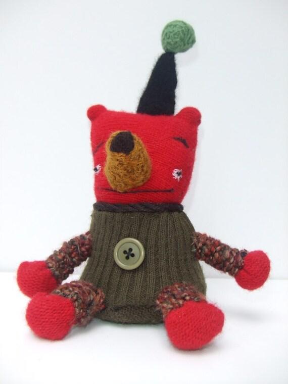 Red Teddy Bear Doll in Hat - Nander - Folk Art Plushie - Olive Green, Black