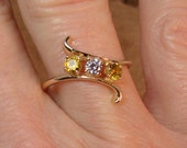 Golden Kiss - 10k Yellow Gold with Golden Topaz and White CZ - (9)