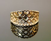 Gold Crown of Laced Hearts - 10K Yellow Gold Ring - (136)