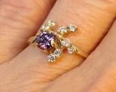 Purple Star Burst- 10K Gold Ring - (23)
