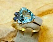 Gold - Sapphire - Topaz - Ring - (58)