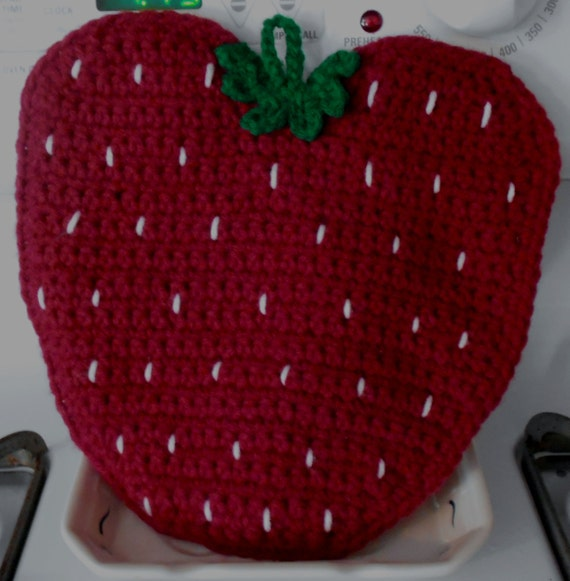 Strawberry Pot Holder, Strawberry Hot Pad, Strawberry Trivet, Crocheted Strawberry Pot Holder