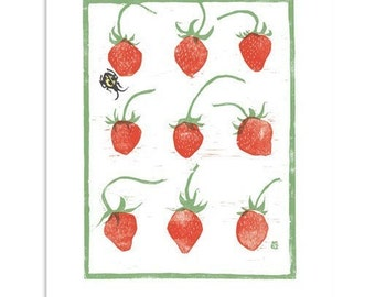 French Strawberries Block Print Art Reproduction