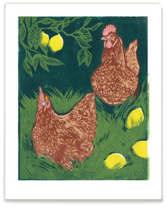 Hens With Lemons - Full Color Reproduction