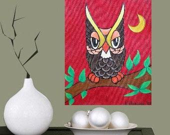 "Eagle Owl - Guardian of the night... original painting, 10.2x14"", 26x35,5 cm, acrylic, canvas, bird, animal, night, fantasy"
