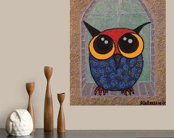 "Owl watching in Tower-Window.. original painting, 9.1x1.8"", 23x30 cm, acrylic, cardboard, abstract, owl, bird, fantasy"
