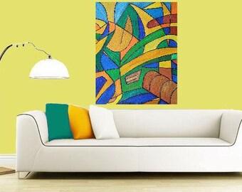 "High Mountains... original painting, 11x14.2"", 28x36 cm, acrylic, canvas, abstract, mountain, valley, fantasy"