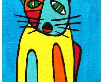 "ACEO Nr. 13  Cat Mony... original painting, acrylic on paper, 2,5""x 3,5"", 6,4 x 8,9 cm, cat, animal, pet, fantasy"
