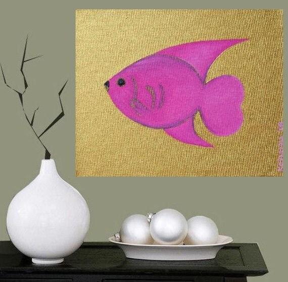 "Tropical Fish... original painting, 11.8x9.8"", 30x25 cm, acrylic, canvas, fish, ocean, sea, animal, abstract, fantasy"