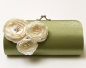 Chartreuse Green Clutch - Bridal Clutch - Bridesmaid Clutch Set - Kisslock Snap Bouquet Clutch - Ivory Flower Blossoms with Rhinestones