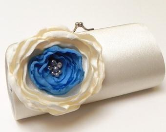 Ivory & Blue Bridal Clutch - Bridesmaid Clutch Rhinestones Pearls Kisslock Something Blue Bridal Clutch Ivory Flower