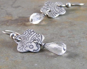 Handcrafted Crystal Quartz and Sterling Silver Metalwork Earrings