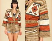 70's Vintage SpAcE DyE Hippie Navajo HiPPiE Wrap Sweater