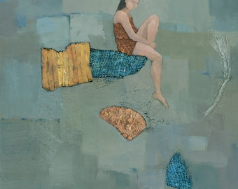 Set Adrift, Original Abstract Mixed Media Figure Painting