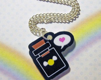 Yellow Fairy Bottle Love Necklace Legend of Zelda Acrylic Pendant