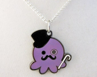 Deluxe Metal Dapper Gentleman Mustache Octopus Necklace