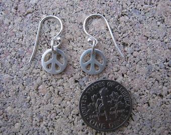 Silver Silver Peace Sign Earrings