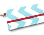 Chevron Cell Phone Wallet - Turquoise, Red, and White Chevron Print - Smart Phone Wallet - Custom Size