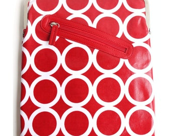 Red iPad Case or Sleeve with Kisslock Frame - iPad Case or Clutch - Notebook Clutch - Red and White Circles Laminated Canvas
