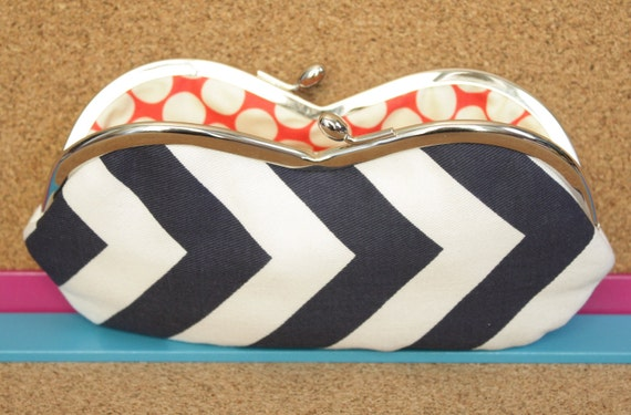 Navy Chevron Sunglasses Case - Navy and White Chevron Sunglass or Eyeglass Clutch with Red Polka Lining