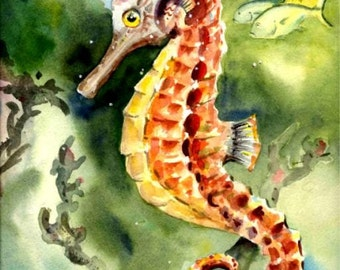 Seahorse Watercolor Painting Art print Ocean wildlife Beach Decor in two sizes...A most unusual fish by Barry Singer