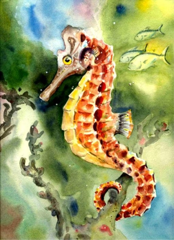 Seahorse 8X10 water color Art print Beach Decor...A most unusual fish