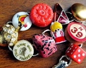 Whimsical OOAK Vintage Junk Bracelet - Red Whimsy - made with repurposed jewelry, buttons, game pieces, beads - gift for her - Junkie Jools