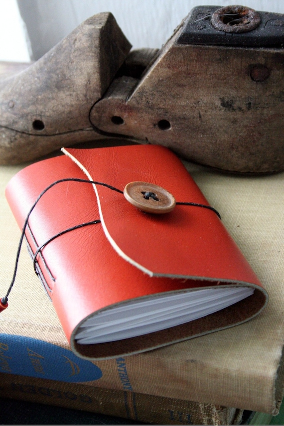 Small Orange Handbound Upcycled Leather Journal Book