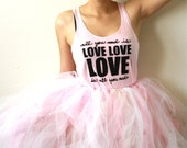 All You Need Is Love MEDIUM. Racerback Tank in Pink