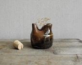 Vintage Art Pottery : Mid Century Hand thrown Pottery Jar, Brown Glazed