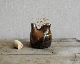 Vintage Art Pottery : Mid Century Hand thrown Pottery Jar, Brown Glazed