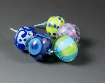 Jeri - Set of 5 Handmade Lampwork Glass Beads by Nichole Byers