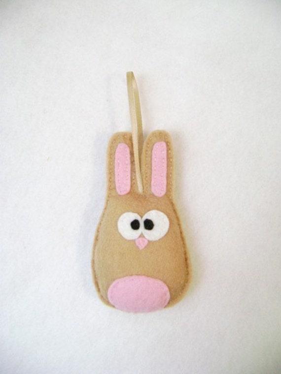 Felt Rabbit Ornament - Beth the Tan Bunny