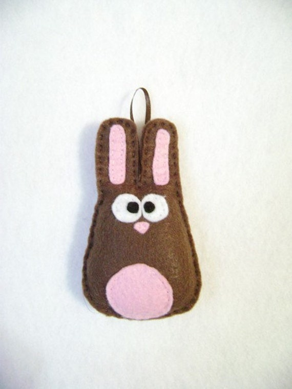 Rabbit Ornament, Christmas Ornament, Felt Holiday Ornament - Nelly the Brown Bunny - Made to order