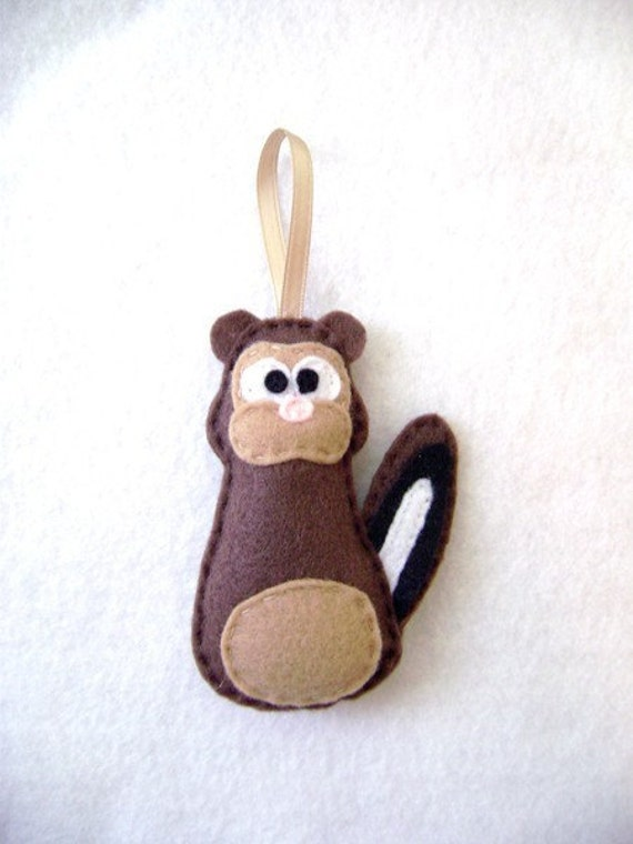 Chipmunk Ornament, Felt Christmas Ornament - Patrick the Brown Chipmunk, Made to Order