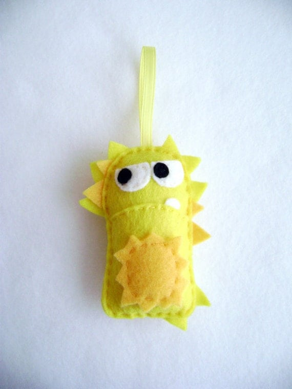 Felt Holiday Ornament - Vernon the Yellow Spiky Monster