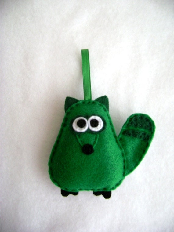 Raccoon Ornament, Green Raccoon, Christmas Ornament - Made to order, Ralph the Green Raccoon