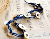 Sale - Button Bracelet - Pearl Buttons - Antique Buttons Jewelry - Crochet Bracelet - Silk Blue